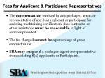 fees for applicant participant representatives