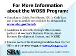 for more information about the wosb program