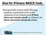 size for primary naics code