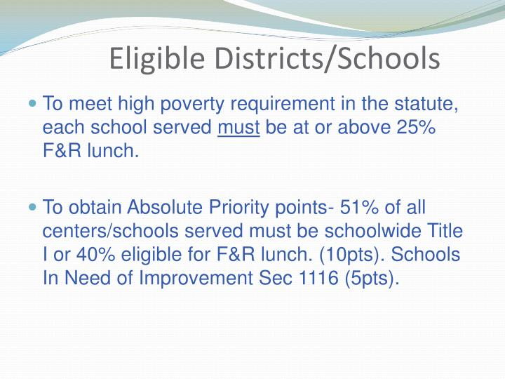 Eligible Districts/Schools