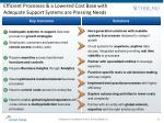 efficient processes a lowered cost base with adequate support systems are pressing needs