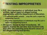 testing improprieties