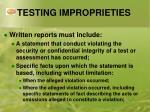testing improprieties1
