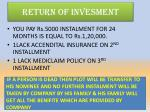 return of invesment
