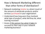 how is network marketing different than other forms of distribution