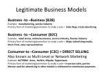 legitimate business models