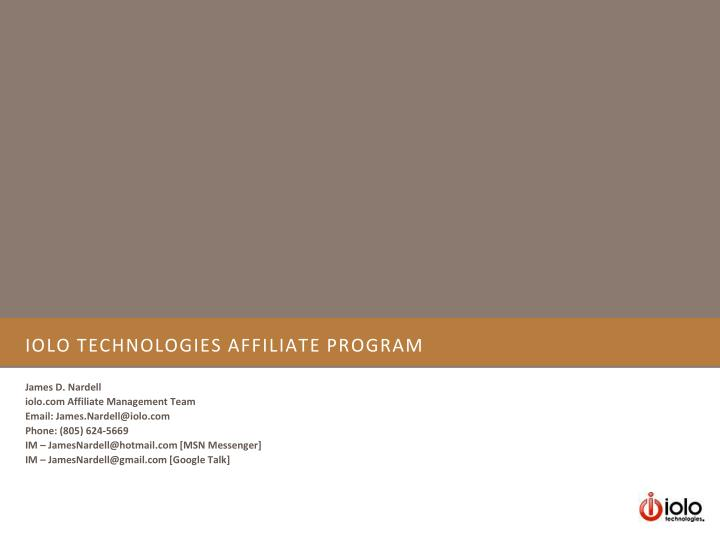 iolo technologies affiliate program n.