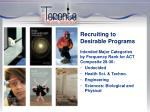recruiting to desirable programs