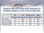 students with act comp 28 36 selectivity of enrolled college by level of parent education