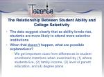 the relationship between student ability and college selectivity