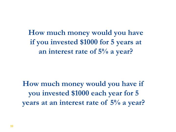 How much money would you have if you invested $1000 for 5 years at an interest rate of 5% a year?