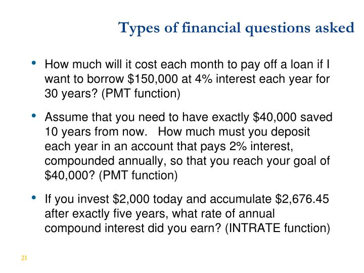 Types of financial questions asked