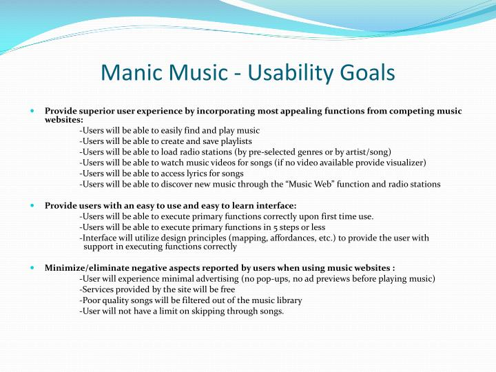 Manic Music - Usability Goals