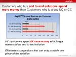 customers who buy end to end solutions spend more money than customers who just buy uc or cc