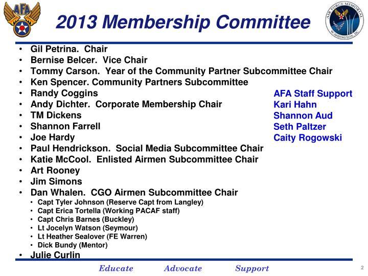 2013 membership committee