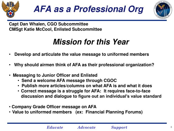 AFA as a Professional Org