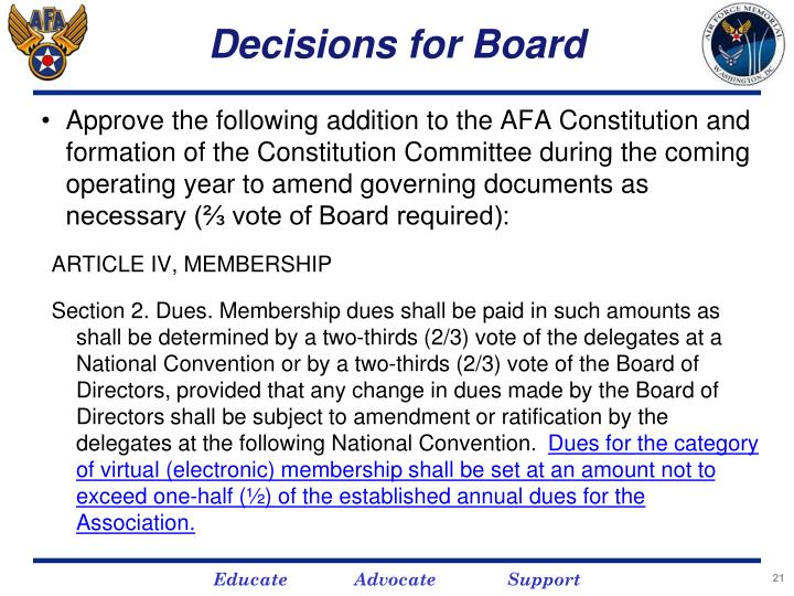 Decisions for Board