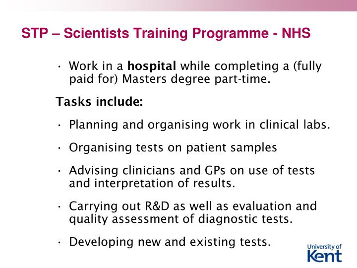 Stp scientists training programme nhs
