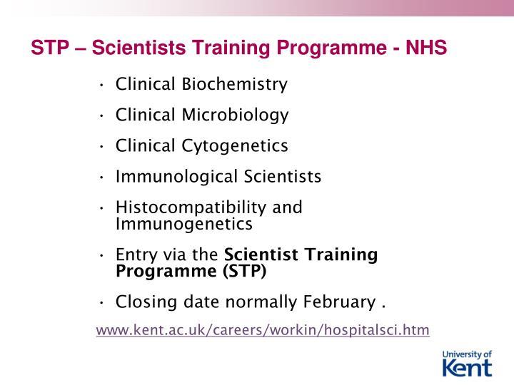 STP – Scientists Training Programme - NHS