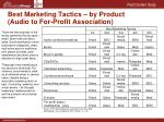 best marketing tactics by product audio to for profit association