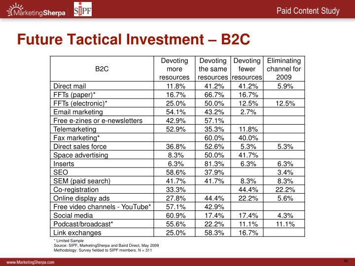 Future Tactical Investment – B2C