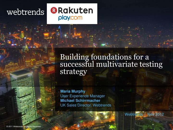building foundations for a successful multivariate testing strategy n.