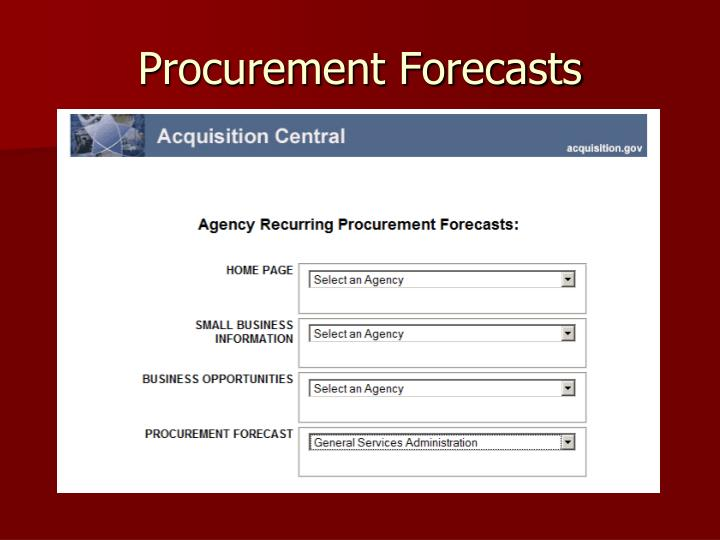 Procurement Forecasts
