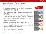 avaya contact center select addressing sophisticated requirements