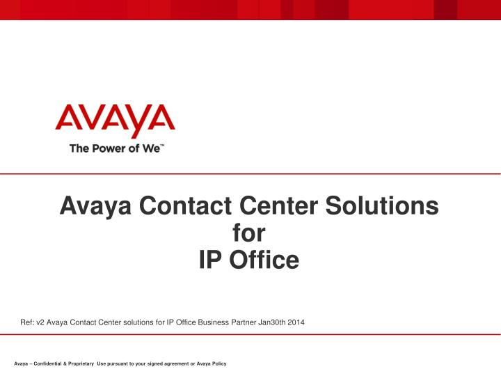 avaya contact center solutions for ip office n.