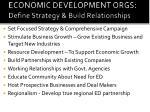 economic development orgs define strategy build relationships