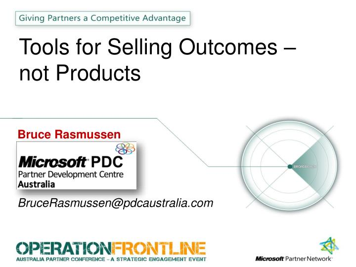 tools for selling outcomes not products n.