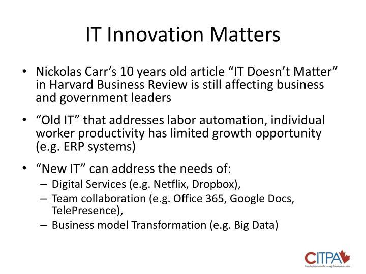 IT Innovation Matters