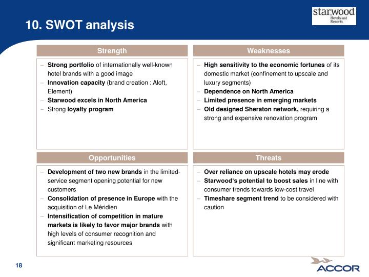 swot starwood hotel Analysis of starwood hotel resort hotel 22 1value chain analysis this is typically an influential tool that is meant for starwood managers towards identifying the major activities in an organization that creates the value chain in support of starwood hotel and resort.
