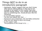 things not to do in an introductory paragraph