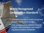 world recognized certification standard