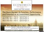 the stock market its function performance and potential as an investment opportunity