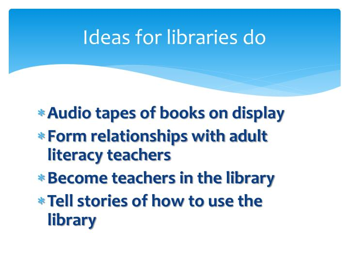 Ideas for libraries do