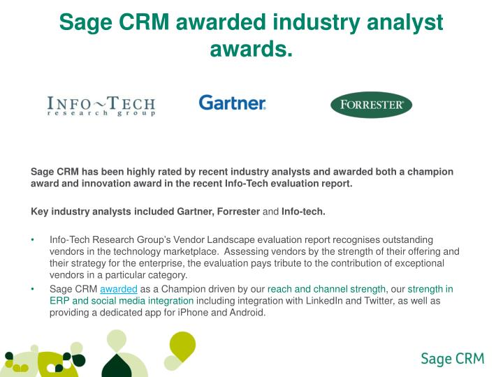 sage crm awarded industry analyst awards n.