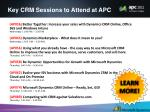 key crm sessions to attend at apc