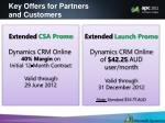 key offers for partners and customers