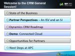 welcome to the crm general session