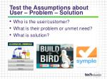 test the assumptions about user problem solution
