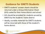 guidance for gnets students