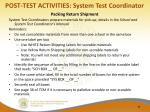 post test activities system test coordinator
