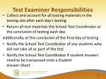 test examiner responsibilities