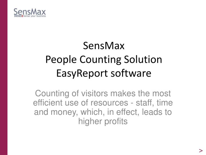 sensmax people counting solution easyreport software n.
