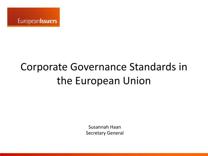 corporate governance standards i n the european union n.