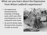 what can you learn about the depression from wilson ledford s experiences