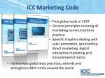 icc marketing code