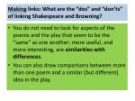 making links what are the dos and don ts of linking shakespeare and browning